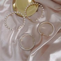 s925 silver needle Hoop earrings personality Pearl circle Huggie earring exaggerated atmosphere wild temperament fashion round ear hooks Jewelry gift