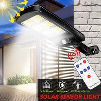 COB Solar Street Lights Jardin extérieur Lampe murale étanche PIR Motion Capteur Smart Télécommande Lumière