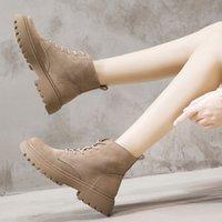BIMUDUIYU Ankle Boots Suede Leather Women Flat platform Short Booties Fashion Genuiner Female Autumn Winte