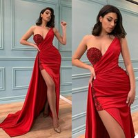 Crystal Mermaid Evening Dress Sexy One Shoulder Side Split Prom Gowns Sequins Beading Blackless Red Carpet Party Dresses