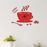 Wall Clocks Red Coffee Cups Clock Stickers Modern Design 3D DIY Acrylic Stiker Horloge Watch Kitchen Leisure Place Bedroom Home Decor