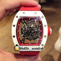 43mm RM055 часы скелетные цифры Miyota автоматические мужские часы белые нано керамические композиты корпус красный внутренний резиновый ремешок HWRM Hello_Watch