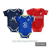 2022 Man U City Infant Jersey Baby Soccer Boys Girls Short Jumpsuit Gift 210826