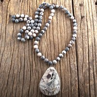 Pendant Necklaces RH Fashion Boho Jewelry Natural Stones Long Knotted With Semi Precious Drop Women Bohemia Necklace Gift