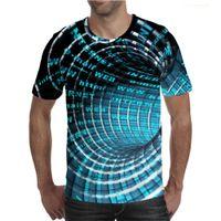 Men's Geometric Stripe Graphic T-Shirt Fashion Trend T Shirt Neutral Letter Vortex Print 3D Tshirt Summer Short Sleeve Top European Large Size