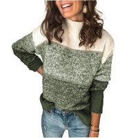 Women's Sweaters Color-Block Striped Sweater Women Turtleneck Pullovers Jumper Knitwear Tshirt 2021 Knit Top