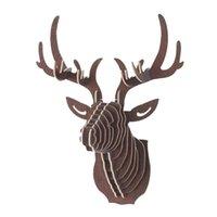 3D de madera DIY Ciervos Cabeza de Cabeza Arte Modelo Modelo Inicio Oficina Muro Colgante Decoración Titulares de Almacenes Racks Regalo Showpiece Decor 210329