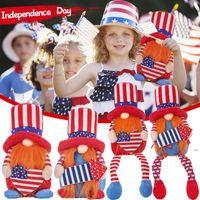 American Party Gnome Патриотическая независимость День независимости Гнома Скандинавские украшения 4 июля Домашний декор для рабочего стола Детские игрушки OWA4487