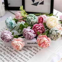 Decorative Flowers & Wreaths 1Pc Artificial Silk Tea Roses Fake Flores Wedding Home Party Spring Vase Table Decor Household Product