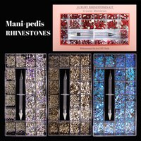 Mixed AB Glass Crystal Nail Diamond In Grids 20 Shape And SS4-SS20 Flatback Nails Art Rhinestone Set With 1 Pick Up Pen For Manicure DIY
