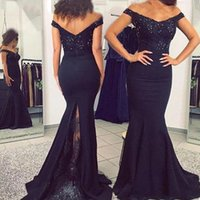 2021 Off The Shoulder Mermaid Evening Dresses Arabic Aso Ebi Lace Applique Beaded Plus Size Prom Gowns Sweep Train Elegant Satin Special Occasion Foraml Dress AL9047