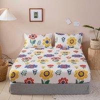 침구 세트 여름 꽃 침대 커버 매트리스 1pc 장착 된 시트 탄성 고무 침구 현대 침대 200 * 220