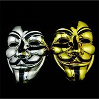 GOLD FAWKES GOLD V MASK VENDETTA Черный и серебристый с костюмом маски Неданные маски Парень взрослый SN426 Anonymous Eyeliner Loana