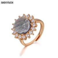 Shinygem Fashion Flower Big Stone Trouwringen Gold Base Silver Druzy Crystal Regelbare Engagement Liefde voor Vrouwen Band