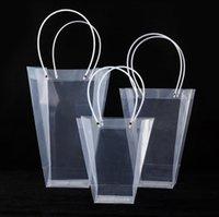 2021 사다리꼴 투명 선물 가방 플라스틱 저장 핸드백 PVC 꽃 가방 가게 패키지 가방 파티 휴일 꽃 핸드백