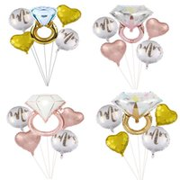 Valentinstag Party Creative Multi Confetti Air Love Ballons 5 stücke Hochzeit Diamant Ring Ballon Set Dekoration liefert