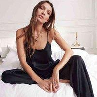 HILOC Backless Satin Sexy Pyjamas Black Lace Pyjamas mit Hosen Lose Spaghetti Strap Intime Wäsche Nachtwäsche Frauen PJ Set 210326