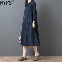 Günlük Elbiseler NYFS 2021 İlkbahar Sonbahar Kadın Elbise Vintage Gevşek Rahat Pamuk Keten Uzun Kadın Vestidos Robe
