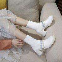 Сапоги Deeptown Женская лодыжка платформа белые ботинки Kawaii милая молния осень мода коренастый средний каблук жемчужный стриптизер