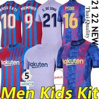 21/22  bARcEloNA MEMPHIS KUN AGUERO Maillots de football BARCA camiseta de futbol 2021 2022 ANSU FATI GRIEZMANN F.DE JONG DEST PEDRI COUTINHO football shirt men kids kit sets