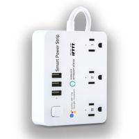 WIFI Smart Pasek zasilający z USB 3 Gniazdo + 3 USB-A do domu 110-240 V Kompatybilne w US CA pH TL MX Ochrona przeciwprzepięciowa ABS