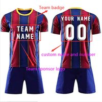 DIY Soccer Jersey 20 21 Messi Blue Red Strip Jerseys Customabzeichen Namensnummer mit blauen Shorts Barcelona Football Hemd Männer und Kinder Sets