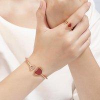 Vintage Crystal Zircon Coeur Bijoux Set Black Red Love Bracelets Anneaux Pour Femme Bracelets en acier inoxydable Boucles d'oreilles Réglable Collier