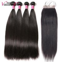 Human Hair Bulks Vall Peruvian Bundles With Closure Straight 4 Lace Remy Extension Double Weft