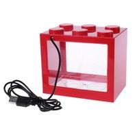Aquariums USB Mini Aquarium Tank Tank avec lampe à LED Light Betta Combattre cylindre W0OY