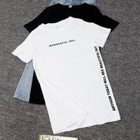 NKANDBY PLUS Размер Чудесный день Распечатать длинные футболки Летние Женщины Свободные щелиные Топы Femme Хлопчатобумажная футболка с коротким рукавом Футболка