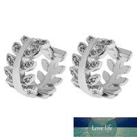 Hoop & Huggie Fashion Leaf Shape Gold Color Leaves Earrings For Women Crystal Small Hoops Earing Jewelry Bijoux