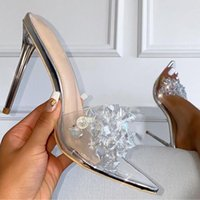 Dress Shoes Transparent High Heels For Women Crystal Pumps Pointed Toe Fashion Stiletto Sandals Slippers