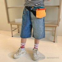 Fashion kids contrast color denim shorts boys double pocket elastic waist jean half trouser summer children casual short pants Q223