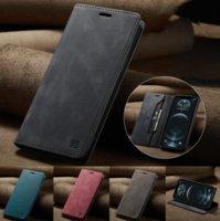 CaseMe 원래 복고기 마그네틱 카드 가죽 지갑 전화 케이스 iphone11 12 프로 Promax X XS Max 7 8 플러스 삼성 S8 S9 Note20 A51 A32 케이스 커버