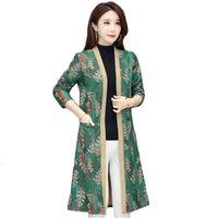 Весна женская ветровка куртка средняя длина над коленей одежда кардиган плюс размер 5xL печатные женские пальто L156 траншеи