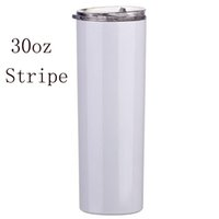 stainless steel White blank sublimation bottle mugs Insulation heat thermal transfer coated vacuum 30oz 20oz straight slimming TUmbler