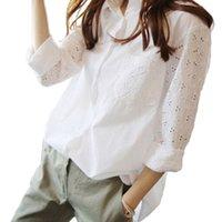 Office Blanco Camisa para mujer Tops y Blusas Túnicas Tallas grandes Blusa Blusa Trabajo Hollow Out 9/10 Mangas Blusas Femininas