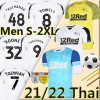 32 Rooney 21/22 Дерби графство футбол футбол 2021 2022 CamiSetas de Fútbol Marriott Lawrence Vaghorn Home White Away Bule Men Kits Kits Футбольная рубашка Униформа 2XL