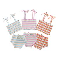 Clothing Sets 2pcs Born Toddler Baby Girl Stripe Tied Spaghetti Straps Vest+High Waist Pantie Suit Outfits Summer Tracksuit For 0-18M