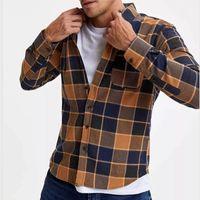 Men's Casual Shirts 2021 Fashion Plaid Printing Long Sleeve Cardigan Tops For Men Autumn Mens Cotton Shirt Business Turn-down Collar
