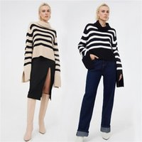 Womens Striped Sweaters Fashion Casual Sweatshirts Tops With Slit Cuff Turtleneck Pullover Sweater For Women