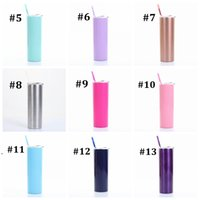 Skinny Cups 20OZ Coffee Mugs Tumbler with Lids Colorful Straws Insulated Vacuum Tumblers Slim Straight Cup Beer Water Bottle seaway FAF10765