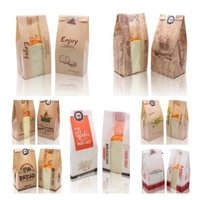 1Lot / 100pcs Party Favore 250g Toast Packing Bag Coated Kraft Bags Paper Bags Food Oil Proof Docu Cart Bread Forniture di cottura 13Style T2i52264