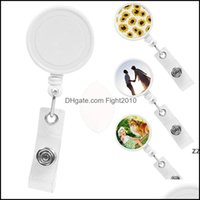 Event Festive Supplies Home & Gardensublimation Blank Nurse Badge Party Favor Plastic Diy Office Work Card Hanging Buckle Can Be Rotated 360