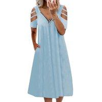 Summer Women Plus Size Dresses Deep V-Neck Knee Length Ladies Short Sleeve Dress Sexy Zipper A Line Hollow Pockets Dress D30 A0611