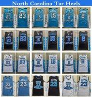 Erkek NCAA Kuzey Carolina Tar Topuklu Koleji Basketbol Formaları 15 Vince Carter 23 Michael Jodan 2 Cole Anthony Vintage Dikişli Gömlek