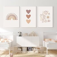 Paintings You Are My Sunshine Quotes Nursery Art Print Heart Rainbow Canvas Poster Boho Wall Pictures Baby Kids Room DecorPainting