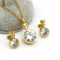 Orecchini Collana Trendy carino 316L in acciaio inox inox delicato colore oro minuscolo singolo pietra choker disegni per le donne ragazze