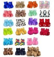 Teddy Bear Slippers Vloeren Home Pluche Pluche Gewatteerde katoenen thermische slippers voor de verjaardag van een kind Gunst