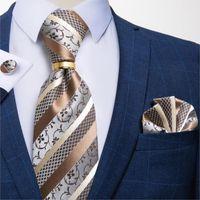Bow Ties DiBanGu Designer Mens Necktie Striped Floral Paisley Silk Tie Pocket Square Cufflinks Neck Ring Set Suit Wedding Business